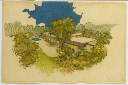 Early rendering. Richard J.Neutra, Kronish House, 1953, pastel on paper, courtesy Palm Springs Art Museum.