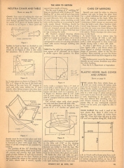 "Neutra's ""recipe"" for constructing the Boomerang Chair, along with instructions for building laundry hampers and cleaning glass. Woman's Day Magazine, 1947."