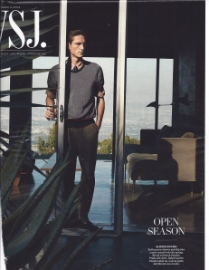 Wall Street Journal Magazine, Men's Issue. Here the sliding door is front and center, as is the chiseled male body. Instead of diagonals rendered by a woman's languid posture, here the diagonal is not onl deployed by the old-fashioned mid-century version of the yucca, that plant manages to touch the model's crotch.